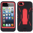 Apple iPhone 5 Hybrid Skin Case with Stand, Black with Red Trim