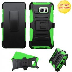 Samsung Galaxy Note 5 Black/Green Advanced Armor Stand Case with Black Holster