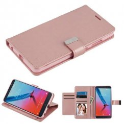 ZTE Blade Z Max / Sequoia Z982 Rose Gold PU Leather Wallet with extra card slots