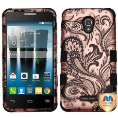 Alcatel Fierce 4 / Pop 4 Plus / Allura Phoenix Flower 2D Rose Gold/Black Hybrid Case