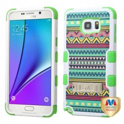 Samsung Galaxy Note 5 Tribal Sun/Electric Green Hybrid Case with Stand