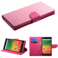 ZTE ZMax Pink Pattern/Hot Pink Liner Wallet with Card Slot