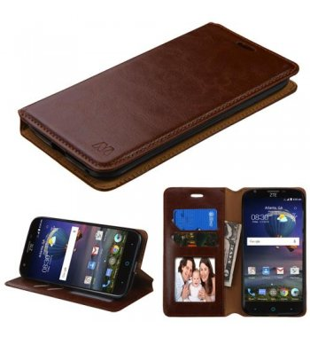 ZTE Grand X 3 / Warp 7 Brown Wallet with Tray