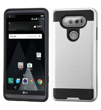 LG V20 Silver/Black Brushed Hybrid Case