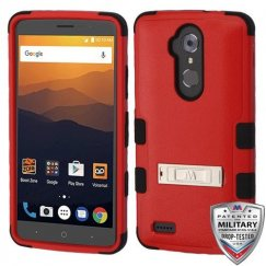 ZTE Blade Max 3 / Max XL Natural Red/Black Hybrid Case with Stand Military Grade