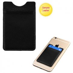 Black Genuine Leather Adhesive Card Pouch