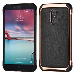 ZTE Grand X Max 2 Black Lychee Grain Rose Gold Plating/Black Astronoot Case