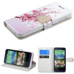 HTC Desire 510 Spring Flowers Wallet with Diamante Belt