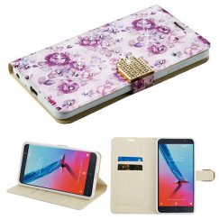 ZTE Blade Z Max / Sequoia Z982 Fresh Purple Flowers Diamante Wallet with Diamante Belt
