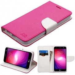 LG X Power 2 Hot Pink Pattern/White Liner wallet with Card Slot