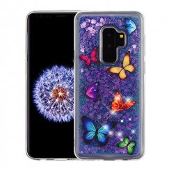 Samsung Galaxy S9 Plus Butterfly Dancing & Purple Quicksand (Hearts) Glitter Hybrid Case