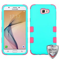 Samsung Galaxy J5 Prime Rubberized Teal Green/Electric Pink Hybrid Case Military Grade