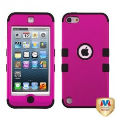 Apple iPod Touch (5th Generation) Titanium Solid Hot Pink/Black Hybrid Case