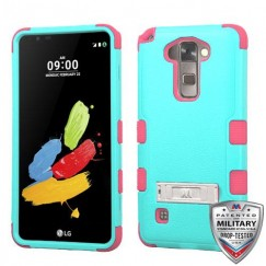 LG G Stylus 2 Natural Teal Green/Electric Pink Hybrid Case with Stand