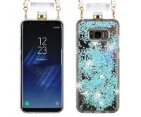Samsung Galaxy S8 Light Blue Quicksand Glitter Diamante Perfume Bottle Protector Cover(with Chain)