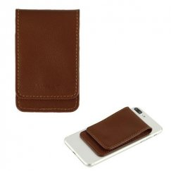 Brown Genuine Leather Flip Adhesive Card Pouch with Snap Fastener