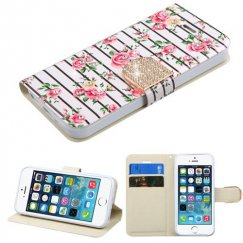 Apple iPhone 5s Pink Fresh Roses Diamante Wallet with Diamante Belt
