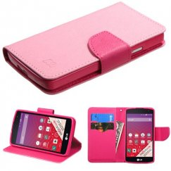 LG Tribute Pink Pattern/Hot Pink Liner Wallet with Card Slot