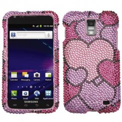 Samsung Galaxy S2 Skyrocket Cloudy Hearts Diamante Case