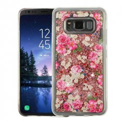 Samsung Galaxy S8 Active European Rose & Rose Gold Quicksand Glitter Hybrid Case
