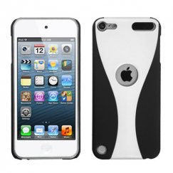 Apple iPod Touch (5th Generation) White/Black Wave Back Case - Rubberized