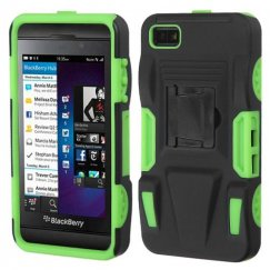 Blackberry Z10 Black/Electric Green Advanced Armor Stand Case - Rubberized
