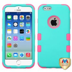 Apple iPhone 6/6s Rubberized Teal Green/Electric Pink Hybrid Case