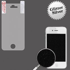 Apple iPhone 4s Glitter LCD Screen Protector/Silver