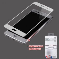 LG K8 / Phoenix 3 Full Coverage Tempered Glass Screen Protector/Silver