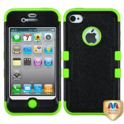 Apple iPhone 4/4s Natural Black/Electric Green Hybrid Case