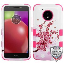 Motorola Moto E4 Spring Flowers/Electric Pink Hybrid Case Military Grade