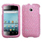 Huawei Ascend II / Prism / Summit Dots(Pink/white) Diamante Case