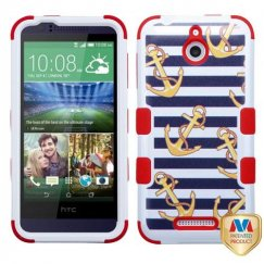 HTC Desire 510 Nautical Stripes/Red Hybrid Case