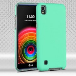 LG X Power / K6 Teal Green Dots Textured/Transparent Clear Fusion Case