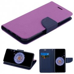 Samsung Galaxy S9 Plus Purple Pattern/Dark Blue Liner wallet with card slot