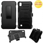 LG X Power / K6 Black/Black Advanced Armor Stand Case with Black Holster