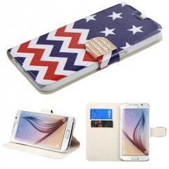 Samsung Galaxy S6 Stars-wave Wallet with Diamante Belt