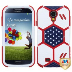 Samsung Galaxy S4 White/Red Goalkeeper Hybrid Case with Sapphire Blue Stand