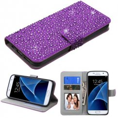 Samsung Galaxy S7 Purple Diamante Wallet
