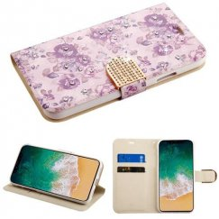 Apple iPhone X Fresh Purple Flowers Diamante Wallet with Diamante Belt