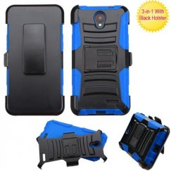 Black/ Blue Advanced Armor Stand Case Combo with Black Holster