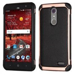 ZTE Grand X 4 Black Lychee Grain(Rose Gold Plating)/Black Astronoot Case