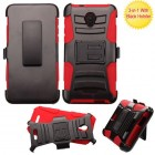 Alcatel Fierce 4 / Pop 4 Plus / Allura Black/Red Advanced Armor Stand Case with Black Holster