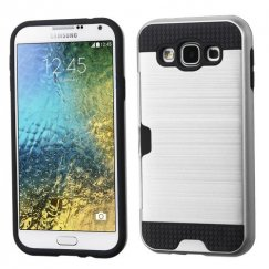 Samsung Galaxy E5 Silver/Black Brushed Hybrid Case with Card Wallet