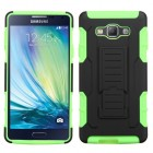 Samsung Galaxy A7 Black/Electric Green Car Armor Stand Case - Rubberized