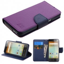 Alcatel One Touch Elevate Purple Pattern/Dark Blue Liner wallet with Card Slot