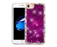 Apple iPhone 7 Purple Quicksand (Stars) Glitter Hybrid Protector Cover (with Diamonds)