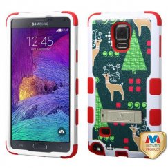 Samsung Galaxy Note 4 Christmas Reindeer/Red Hybrid Case with Stand