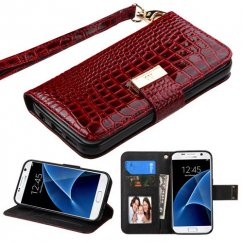 Samsung Galaxy S7 Burgundy Crocodile-Embossed Wallet
