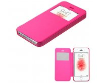 Apple iPhone 5/5s Hot Pink Silk Texture Wallet with Transparent Frosted Tray
